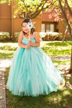 Frozen Elsa inspired tutu dress.  Perfect flower girl dress for a Frozen themed Wedding. Snow Queen birthday dress