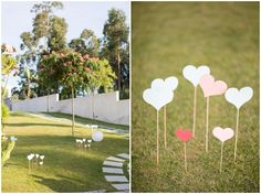 hearts on sticks dotted around the venue | photo by @Brancoprata
