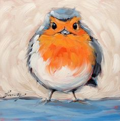 Whimsical Original oil painting of a Robin Red Breast by LaveryART