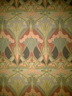 I took this picture at a restaurant in North Bay called Churchills. Every time I eat there I get to take a long look and feel this absolutely gorgeous wallpaper. I hope you enjoy it as much as I do. Art Nouveau Wallpaper, Room Wallpaper, Liberty Print, Arts And Crafts Movement, Pattern Wallpaper, Textile Art, Stencils, Textiles, Deco