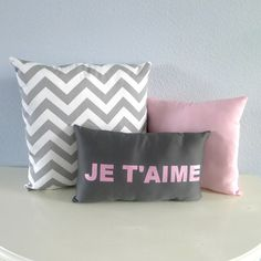 Je T'aime Pink and Grey Pillow Set FREE SHIPPING found on Polyvore featuring polyvore