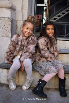 petiteGuests, Harper & Luca Street Style | styled by Kiki Tillman, wear matching 'Ivy' Pale Cloud Girls fur jackets and dresses by RUUM | Images courtesy of Kymberly Marciano Photography | Poster Child Style