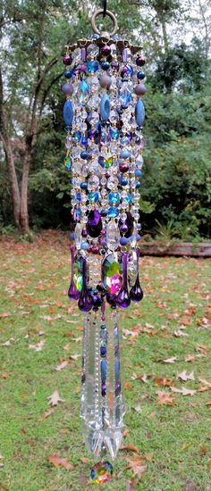 Bohemian Wind Chime, Gypsy Crystal Wind Chime, Dark Blue and Purple Crystal, Outdoor Decor, Indoor Decor by sheriscrystals on Etsy