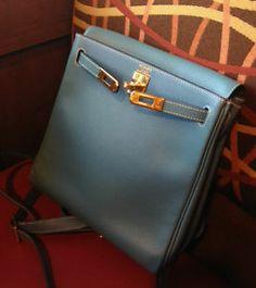 c10a1ab7c665 HERMES KELLY ADO PM BACKPACK Blue Jean Epsom leather Gold Hardware Hermes  Kelly