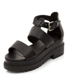 Black Strappy High Vamp Chunky Sandals