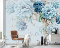 Oil Painting Wallpaper Wall Mural, Blue/Pink Penoy Floral Wall Mural, Flourishing Flowers Wall Mural, home office with floral mural Wallpaper Wall, Painting Wallpaper, Oil Painting Abstract, Wall Painting Flowers, Leaves Wallpaper, Blue Floral Wallpaper, Painting Walls, Bedroom Wallpaper, Adhesive Wallpaper
