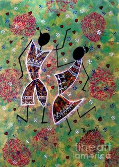 Dancing Couple - Creative Art in Painting by Priyanka Rastogi in Portfolio acrylic painting at Touchtalent Worli Painting, Couple Painting, Arte Tribal, Tribal Art, African Traditions, Madhubani Art, Indian Folk Art, Pictures To Draw, African Art