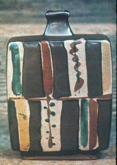 Stoneware Bottle with wax resist and overglaze decoration  by Shoji Hamada, 1970, Mashiko, Japan