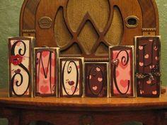 Valentines Day Decor - Valentine Blocks - Smooch Valenine Sign. $36.00, via Etsy.