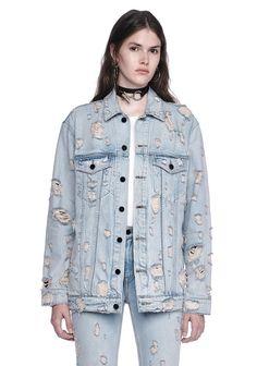 Alexander Wang Daze Scratch Oversized Denim Jacket