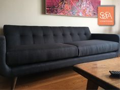 The Jackson sofa in Sand Charcoal  The Jackson is one of our most popular mid-century modern designs, offering a deep seat and a trendy look. Like everything else in our fabric collection, it's customizable to the inch, and is available as a sectional as well!  Custom Furniture   Custom Sofas   Custom Sectionals   Midcentury Modern   mysofacreation.com