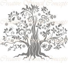 Árbol de la vida decorativa plantilla por CreativeStencils en Etsy