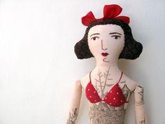 Tattooed lady, made by fibre artist Mimi Kirchner