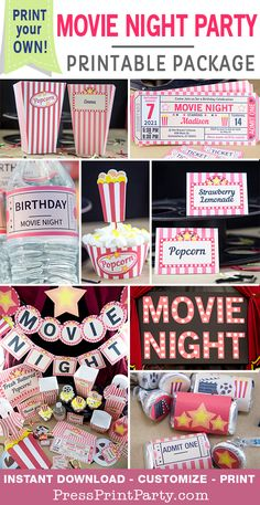 Throw an awesome movie night party with these decorations, invitations and more. Fully editable at home. Perfect for birthdays, weddings, baby showers, bridal show Sleepover Birthday Parties, Birthday Party For Teens, Women Birthday, 14th Birthday, Movie Themed Parties, Sleepover Party Ideas For Girls Tween, Party Ideas For Teenagers, Birthday Party Ideas For Teens 13th, Movie Theatre Birthday Party