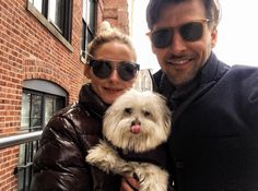 Olivia Palermo wears MAX&Co. sunglasses for a relaxing weekend with her husband and Mr. Butler. #maxandco #fashion #style #oliviapalermo #sunglasses #dog #MalteseTerrier