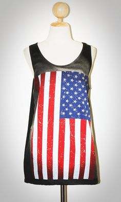 Flag of the United States T-Shirt Black Singlet Art Indie Punk Rock Tank Top Size M