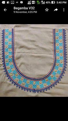 Embroidery On Kurtis, Kurti Embroidery Design, Hand Embroidery Dress, Embroidery Leaf, Hand Embroidery Designs, Hand Work Blouse Design, New Blouse Designs, Kutch Work Designs, Back Neck Designs
