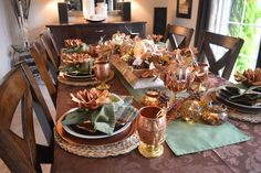 Thanksgiving is almost upon us here in Canada. This year, Thanksgiving falls on October 8 which is the earliest it can ever be (alw. Fall Table Settings, Thanksgiving Table Settings, Thanksgiving Tablescapes, October 8, Copper, Autumn, Fantasy, Rustic, Dining
