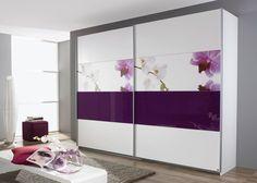 Schrank Soluno 181,0 Weiß mit Motiv Orchidee 8416. Buy now at https://www.moebel-wohnbar.de/schwebetuerenschrank-soluno-181-0-weiss-motiv-orchidee-glaseinlage-8416.html