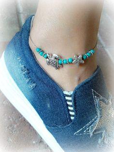 Summer Bracelets, Summer Jewelry, Beach Jewelry, Nautical Jewelry, Beaded Necklace, Beaded Bracelets, Choker Necklaces, Beaded Starfish, Ankle Jewelry