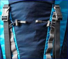Dual daisy chain system on the front, and bungee loops for poles and ice-axe attachments.