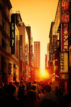 Sunset at MyeongDong - Seoul - Korea (I'm so going here ... See Gap on the left!)