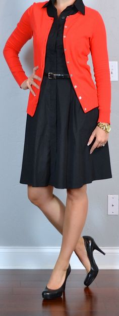 outfit post: black shirt dress, red cardigan, black pumps | Outfit Posts