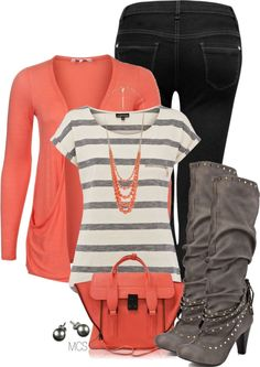 """Sapphire Boot - Grey"" by mclaires coral gray stripes tee black jeans pearls Casual Outfits, Cute Outfits, Fashion Outfits, Womens Fashion, Casual Clothes, Fall Winter Outfits, Autumn Winter Fashion, Spring Fashion, New Wardrobe"