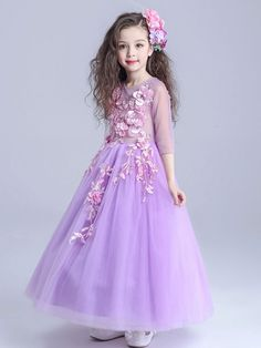 Girl's 3/4 Sleeves Round Collar Voile Flower Party Full Dress