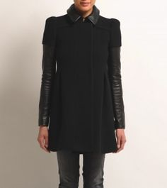 Maje - BLACK COAT. Everything is leather or fur trimmed this fall/winter