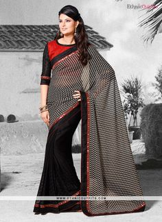 Heavenly Black Patch Border Work Georgette Designer Saree  Email- support@ethnicoutfits.com Call - +918140714515 What's app/Viber- +918141377746