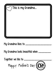 Mother's Day interview - GRANDMA,  To do with  your own kids for Grandma, or in a classroom for a child who doesn't spend time with Mom.