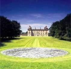 The Full Moon at Houghton Hall is 70' diameter and made from broken pieces of Cornish slate.  http://knell63.hubpages.com/hub/Landscape-Art-Land-art-visible-from-Google-Earth