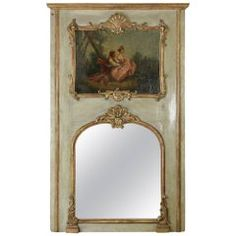 Early 18th Century French Regency Period Painted Trumeau Mirror, Oil Painting