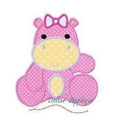 Girl Hippo Applique - 3 Sizes! | What's New | Machine Embroidery Designs | SWAKembroidery.com Dollar Applique