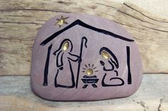 NATIVITY Engraved Natural Stone Enchanting and by SandStudios, $35.00