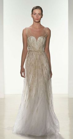 Gorgeous gold beaded wedding dress by Amsale 'Talia' bridal gown