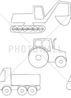 Large Vehicles - Black - Tapetit / tapetti - Photowall