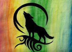 Wolf Silhouette Watercolour