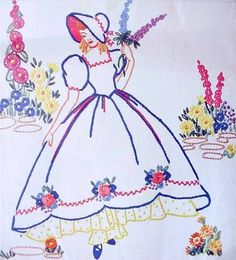 Crinoline Lady embroidery transfer Weldons16 by craftycharlie, $5.00