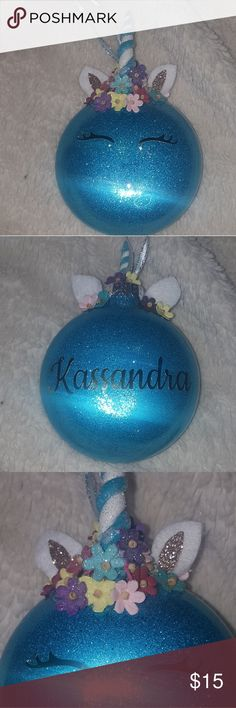Adorable Unicorn Ornament Custom made to order personalized Unicorn Christmas Ornament.  An adorable addition for your Christmas collection & the perfect gift for your little one! Order in time for Christmas!! You choose the color of your unicorn.  ♡Colors Available ♡ Peacock Blue-as shown Bubblegum Pink  Orchid Raspberry  Sunflower Yellow Mint Frost Blue Other