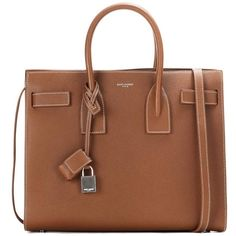 Saint Laurent Sac De Jour Small Leather Tote ($2,325) ❤ liked on Polyvore featuring bags, handbags, tote bags, brown, leather handbags, brown leather tote, leather tote purse, handbags totes and genuine leather handbags
