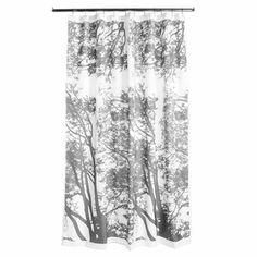 Marimekko Tuuli Grey Long Polyester Shower Curtain - Click to enlarge