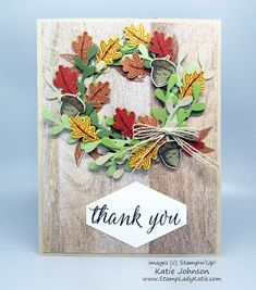 Combine the Sprig Punch and Autumn Punch Pack (both from Stampin'Up!) to make this fall wreath card. The Stampinup small leaf and small acorn punches make it easy to add layers to this project.