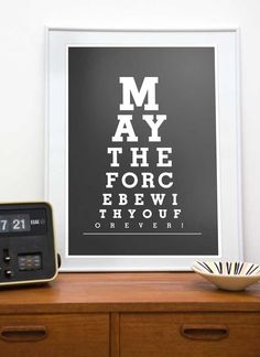 Star Wars print typography art poster Eye Chart - May the force be with You or 14 or 8 x 10 - choose your color Star Wars Party, Star Wars Zimmer, Citations Film, Star Wars Room, Star Wars Prints, Eye Chart, Kunst Poster, The Force Is Strong, Modern Artwork