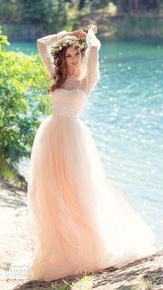 papilio 2017 bridal long sleeves off the shoulder sweetheart neckline heavily embellished bodice peach color romantic a  line wedding dress chapel train (cockatiel) mv -- Papilio 2017 Wedding Dresses