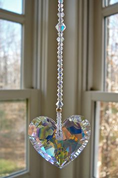 Swarovski Crystal Heart Sun Catcher 36mm door HeartstringsByMorgan