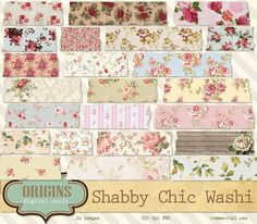 Shabby Chic Digital Washi Tape  Floral by OriginsDigitalCurio