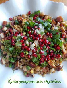 Σαλάτα οσπρίων με απάκι και άρωμα εσπεριδοειδών - cretangastronomy.gr Black Eyed Peas, Pasta Salad, Salads, Ethnic Recipes, Food, Crab Pasta Salad, Essen, Meals, Yemek