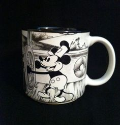 Retired-Steamboat-Willie-Vintage-Disney-Mickey-Mouse-Black-White-Coffee-Mug